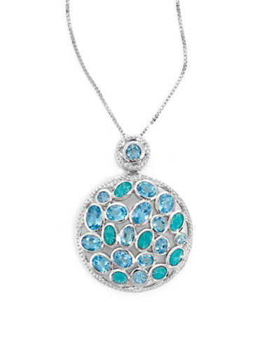 Fine Jewellery Sterling Silver Two-Tone Topaz Necklace-BLUE-One Size