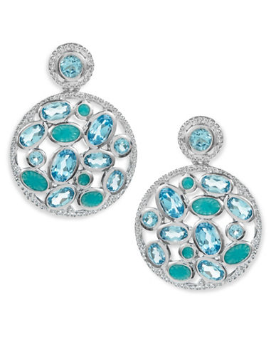 Fine Jewellery Sterling Silver Blue Topaz Disc Earrings-BLUE-One Size