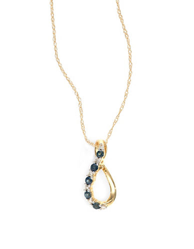Fine Jewellery 14k Yellow Gold Sapphire and 0.06 tcw Diamond Teardrop Necklace-BLUE-One Size