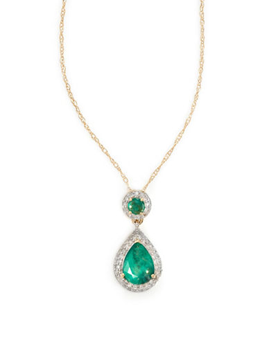 Fine Jewellery 14k Yellow Gold Double Emerald Necklace with Diamond Bezel-GREEN-One Size
