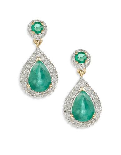 Fine Jewellery 14K Yellow Gold Emerald Diamond Earrings-GREEN-One Size