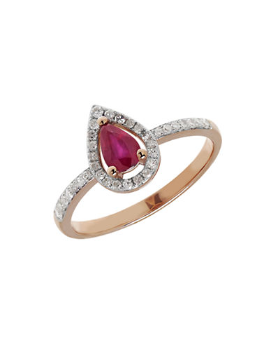 Fine Jewellery 14K Rose Gold Pear Ruby and Diamond Ring-RED-7