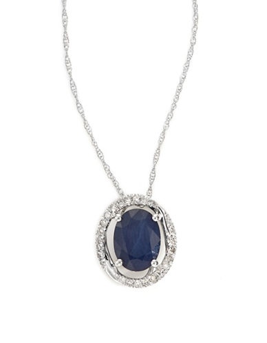 Fine Jewellery 14k White Gold Oval Sapphire and Diamond Necklace-BLUE-One Size