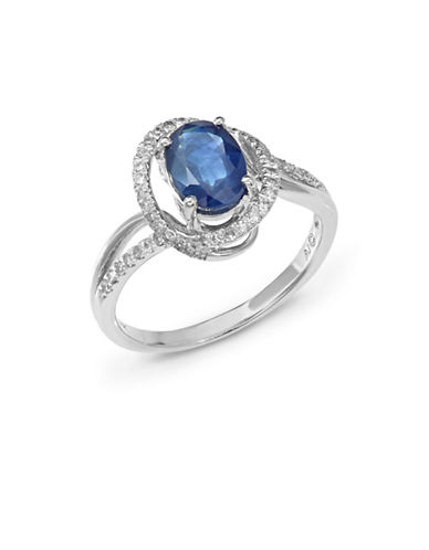 Fine Jewellery 14k White Gold Oval Sapphire and Diamond Ring-BLUE-7