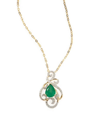 Fine Jewellery 14k Yellow Gold Emerald and Diamond Filigree Necklace-GREEN-One Size