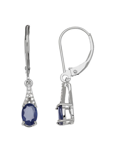 Fine Jewellery 14K White Gold Sapphire and Diamond Earrings-BLUE-One Size