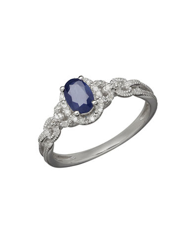 Fine Jewellery 14K White Gold Sapphire and Diamond Ring-BLUE-7