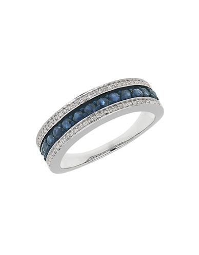 Fine Jewellery 14K White Gold Sapphire and Diamond Band Ring-BLUE-7