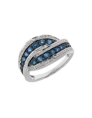 Fine Jewellery 14K White Gold Sapphire and Diamond Twist Ring-BLUE-7
