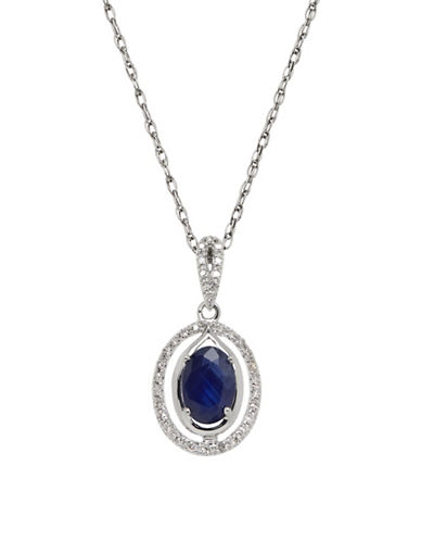 Fine Jewellery 14K White Gold Sapphire and Diamond Pendant Necklace-BLUE-One Size