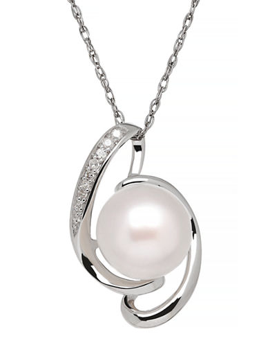 Fine Jewellery Sterling Silver Pearl Pendant Necklace-WHITE-One Size