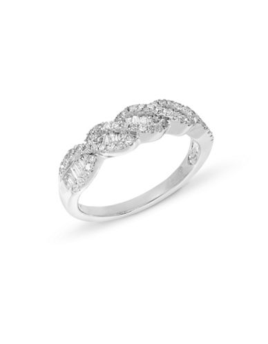 Fine Jewellery 14k White Gold Braided Diamond Ring-DIAMOND-7