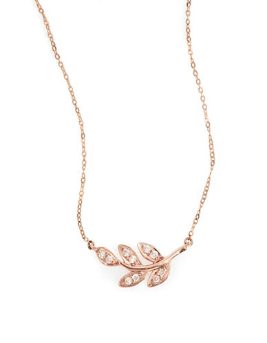 Fine Jewellery 14k Rose Gold Diamond Leaf Necklace-ROSE GOLD-One Size