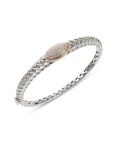 Fine Jewellery 14K Yellow Gold Sterling Silver Diamond Bracelet-DIAMOND-One Size