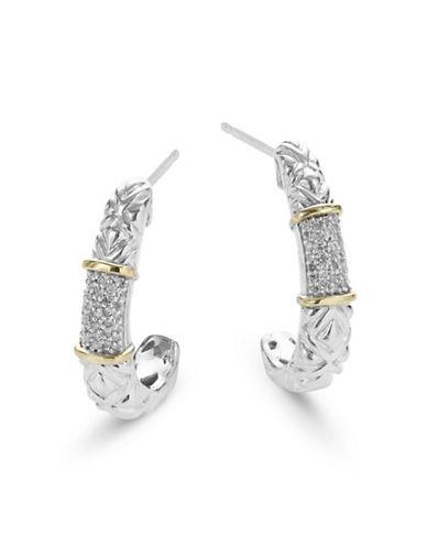 Fine Jewellery 14K Yellow Gold Sterling Silver Diamond Earrings-DIAMOND-One Size