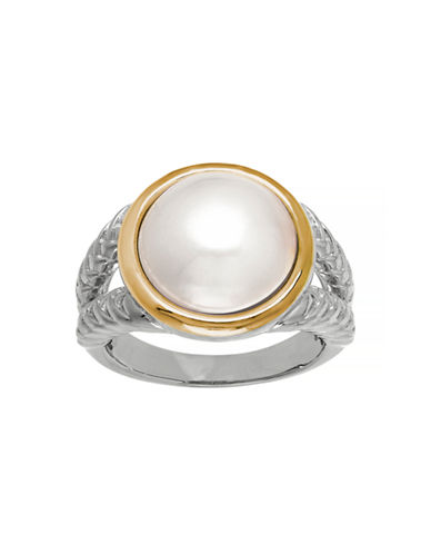 Fine Jewellery 14K Gold and Sterling Silver Pearl Ring-WHITE-7