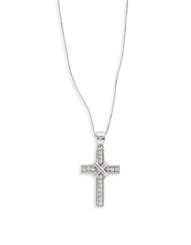 Fine Jewellery 14k White Gold Cross Pendant Necklace-CUBIC ZIRCONIA-One Size