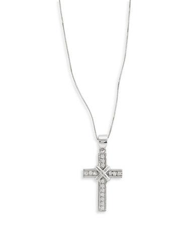 Fine Jewellery 14k White Gold Cross Pendant Necklace-CUBIC ZIRCONIA-One Size