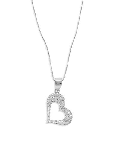 Fine Jewellery 14k White Gold Heart Pendant Necklace-CUBIC ZIRCONIA-One Size