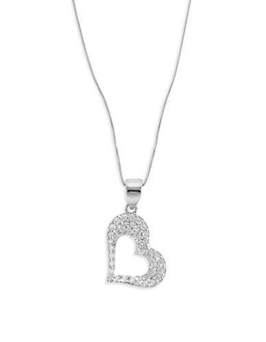 Fine Jewellery 14k White Gold Heart Pendant Necklace-CUBIC ZIRCONIA-One Size