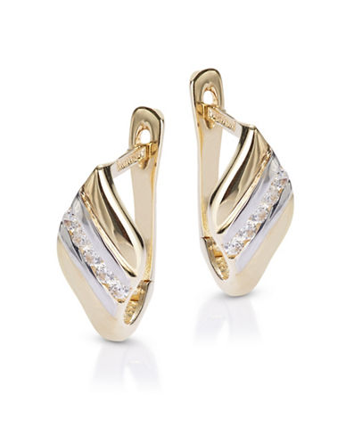 Fine Jewellery 14K Yellow Gold Diagonal Latch Back Earrings-CUBIC ZIRCONIA-One Size
