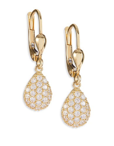 Fine Jewellery 14K Yellow Gold Pave Teardrop Earrings-CUBIC ZIRCONIA-One Size