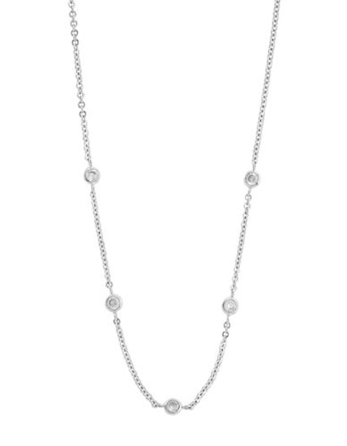Fine Jewellery 14k White Gold Station Necklace-CUBIC ZIRCONIA-One Size