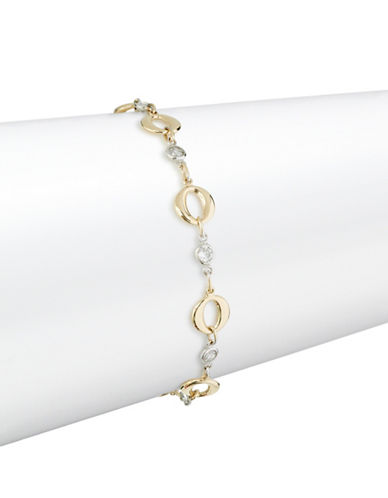 Fine Jewellery Two-Tone 14K Gold Station Bracelet-CUBIC ZIRCONIA-One Size