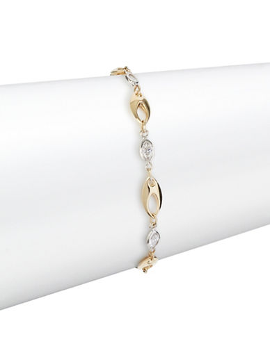 Fine Jewellery Two-Tone 14K Gold Open Marquis Bracelet-CUBIC ZIRCONIA-One Size