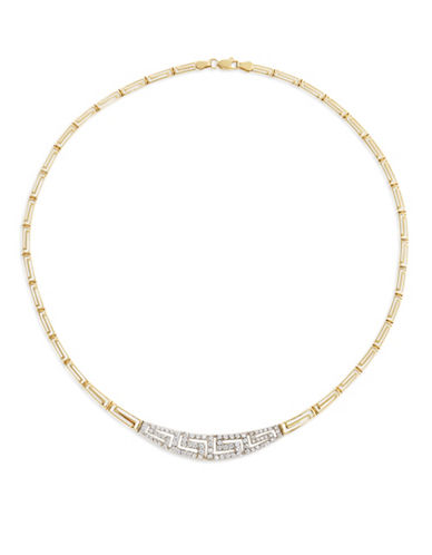 Fine Jewellery Two-Tone 14K Gold Border Necklace-CUBIC ZIRCONIA-One Size