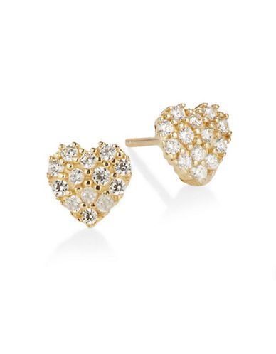 Fine Jewellery 14K Yellow Gold Heart Stud Earrings-CUBIC ZIRCONIA-One Size