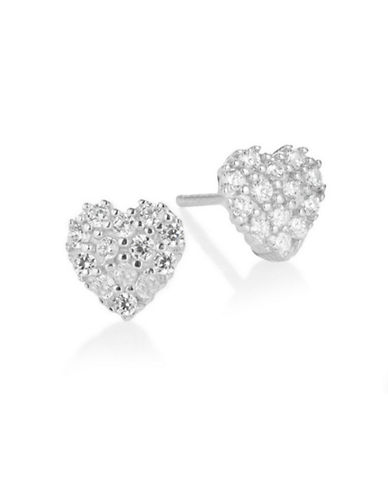 Fine Jewellery 14K White Gold Pave Heart Stud Earrings-CUBIC ZIRCONIA-One Size