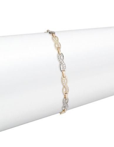 Fine Jewellery Two-Tone 14K Gold Infinity Bracelet-CUBIC ZIRCONIA-One Size