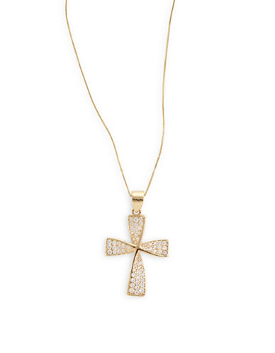 Fine Jewellery 14k Yellow Gold Twisted Cross Pendant Necklace-CUBIC ZIRCONIA-One Size