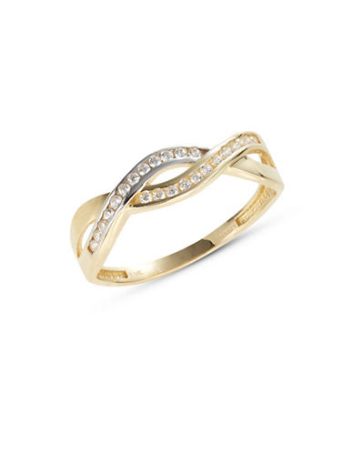 Fine Jewellery Yellow Gold Entwined Pave Ring-CUBIC ZIRCONIA-7