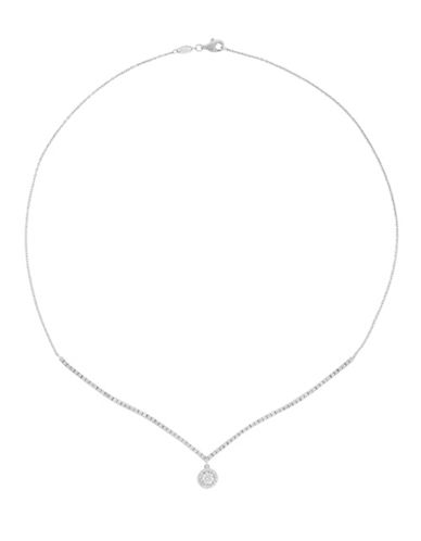 Fine Jewellery 14k White Gold Box Chain Pendant Necklace-CUBIC ZIRCONIA-One Size