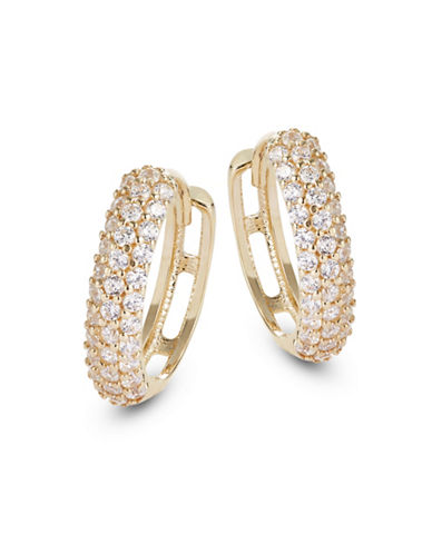 Fine Jewellery 14K Yellow Gold Pave Huggie Hoop Earrings-CUBIC ZIRCONIA-One Size