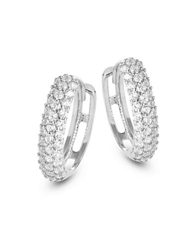 Fine Jewellery 14K White Gold Triple-Row Prong-Set Hoops-CUBIC ZIRCONIA-One Size