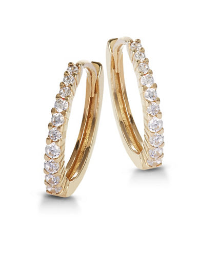Fine Jewellery 14K Yellow Gold Prong-Set Hoops-CUBIC ZIRCONIA-One Size