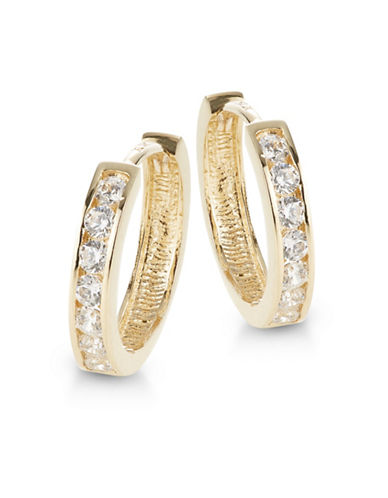Fine Jewellery 14K Yellow Gold Huggie Hoop Earrings-CUBIC ZIRCONIA-One Size