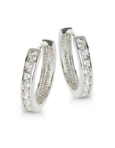 Fine Jewellery 14K White Gold Pave Huggie Hoop Earrings-CUBIC ZIRCONIA-One Size
