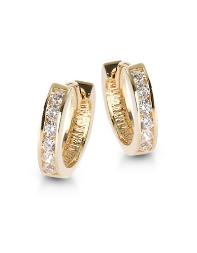 Fine Jewellery Small Huggie 14K Yellow Gold Earrings-CUBIC ZIRCONIA-One Size