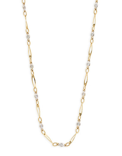 Fine Jewellery 14K Yellow Gold Mixed Link Necklace-CUBIC ZIRCONIA-One Size