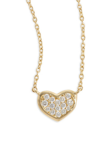 Fine Jewellery 14k Yellow Gold Pave Heart Pendant Necklace-CUBIC ZIRCONIA-One Size