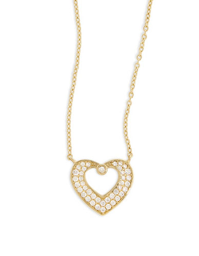 Fine Jewellery 14k Yellow Gold Pave Heart Frame Necklace-CUBIC ZIRCONIA-One Size
