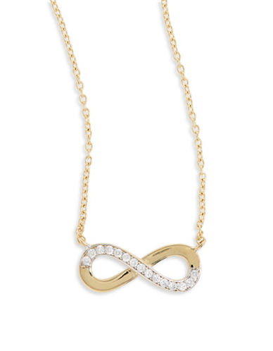 Fine Jewellery 14k Yellow Gold Infinity Pendant Necklace-CUBIC ZIRCONIA-One Size