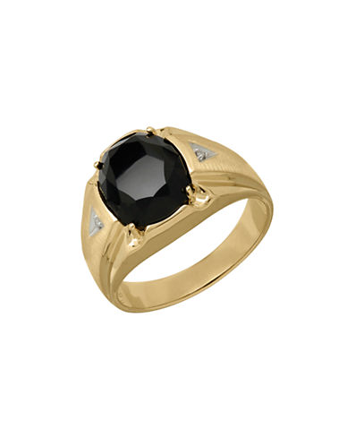 Fine Jewellery 14k Yellow Gold Diamond and Black Onyx Ring-ONYX-10