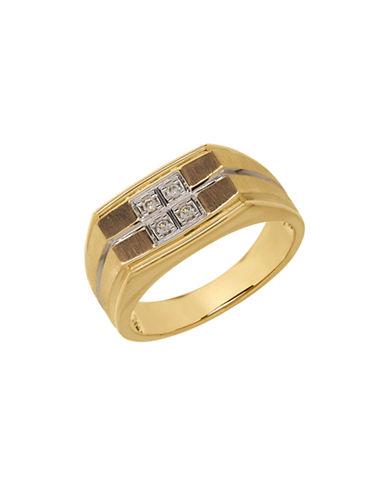 Fine Jewellery 14k Yellow Gold Diamond Grid Ring-DIAMOND-10