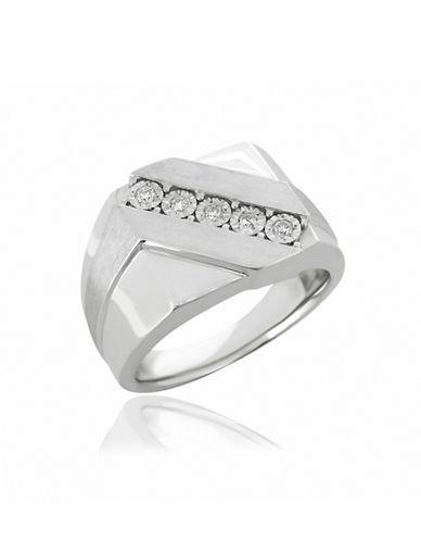 Fine Jewellery Sterling Silver Diagonal Diamonds Ring-DIAMOND-10