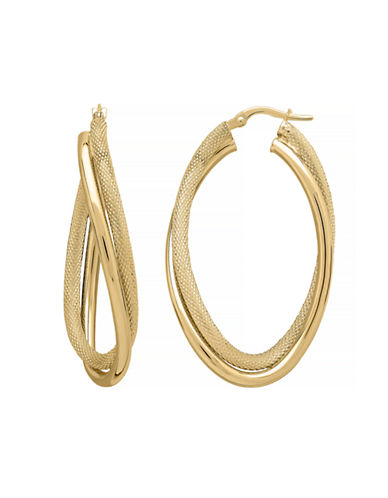 Fine Jewellery 14K Yellow Gold Crossover Twist Hoop Earrings-YELLOW GOLD-One Size